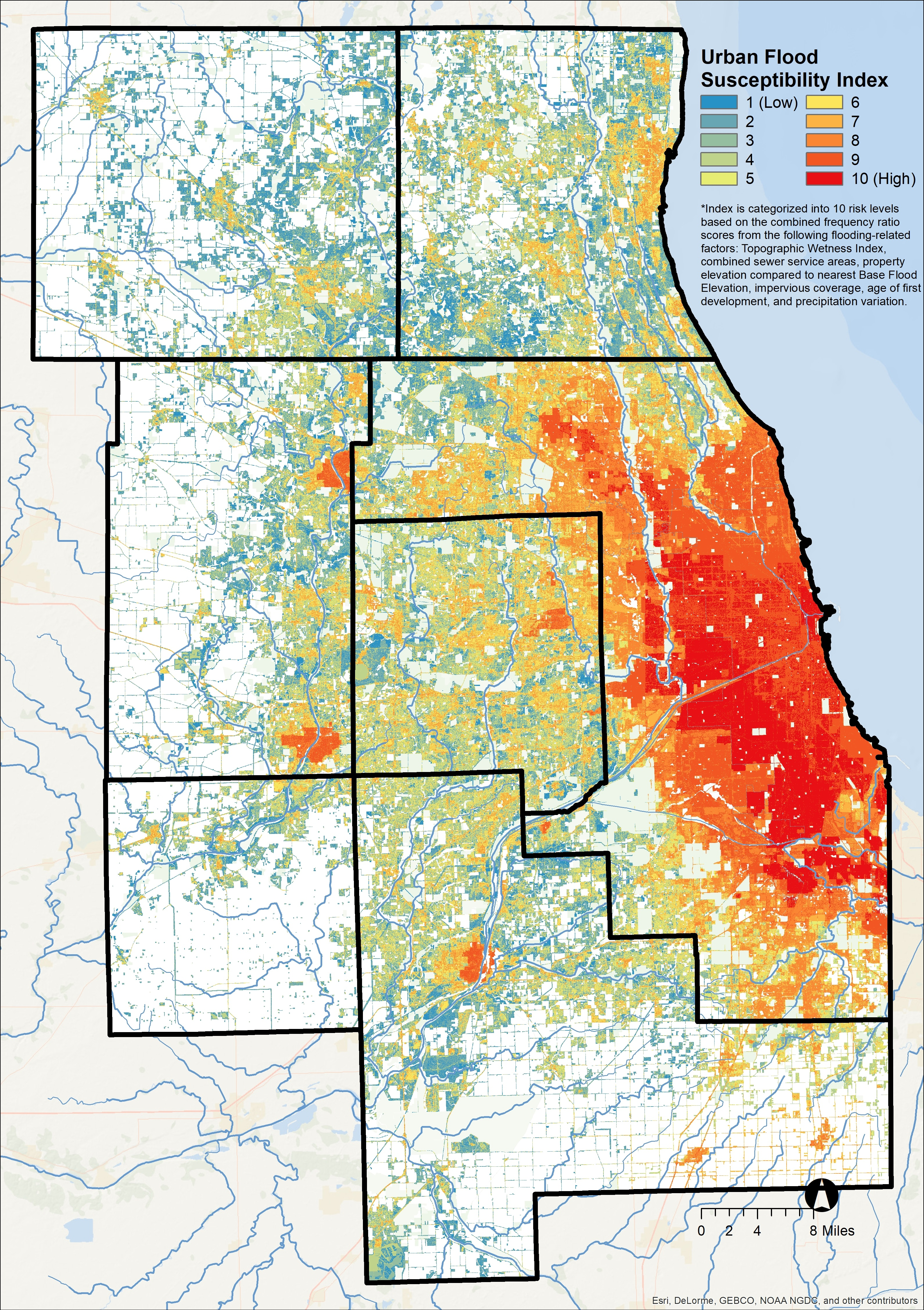 chicago flood susceptibility map